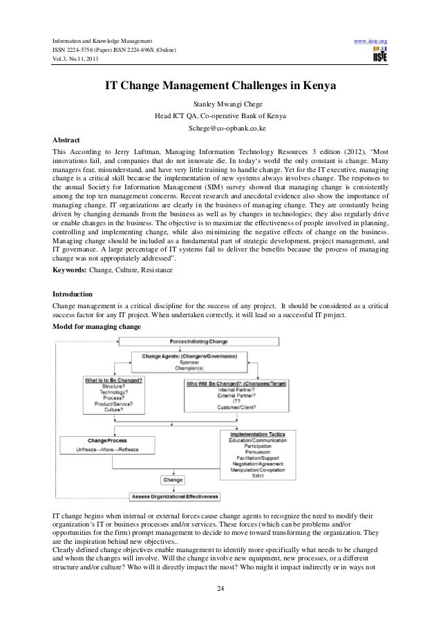 Information and Knowledge Management ISSN 2224-5758 (Paper) ISSN 2224-896X (Online) Vol.3, No.11, 2013  www.iiste.org  IT ...