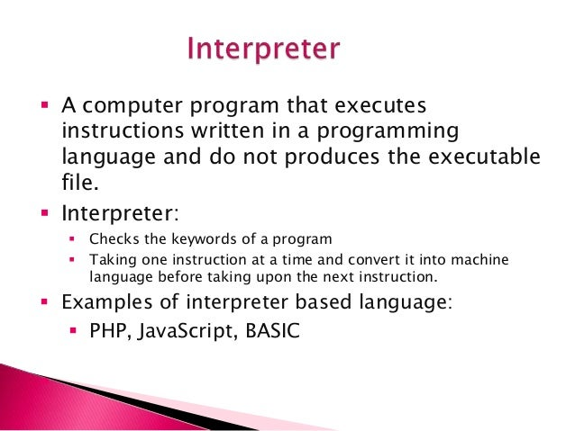 compiler and interpreter Major difference between compiler and interpreter is that compiler converts the whole program in one go on the other hand interpreter converts the program by taking a.