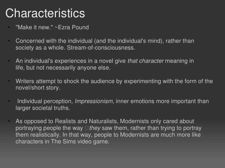 modernism in literature characteristics pdf