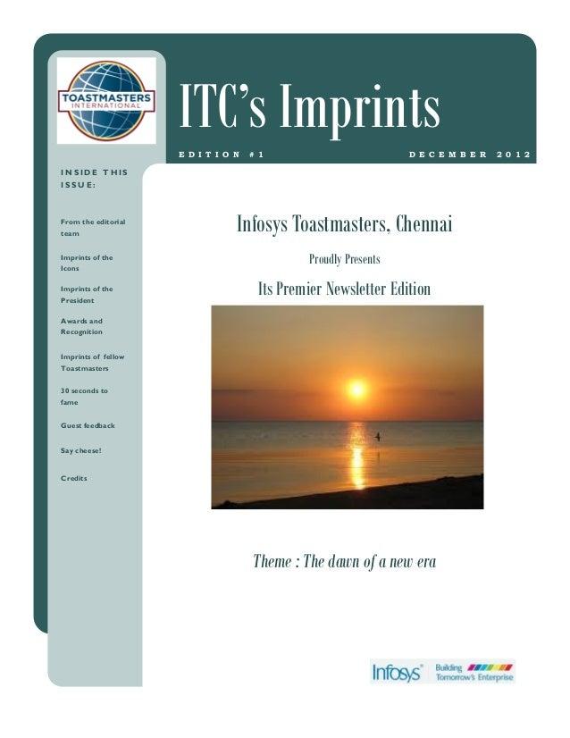 ITC's Imprints                     E D I T I O N   # 1                         D E C E M B E R   2 0 1 2INSIDE THISISSUE:F...