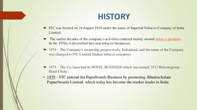 history and evolution of itc group An abridged history of harley davidson   in 1981 a group of 13  while the name evolution' was most likely an homage to the evolution of the company's.