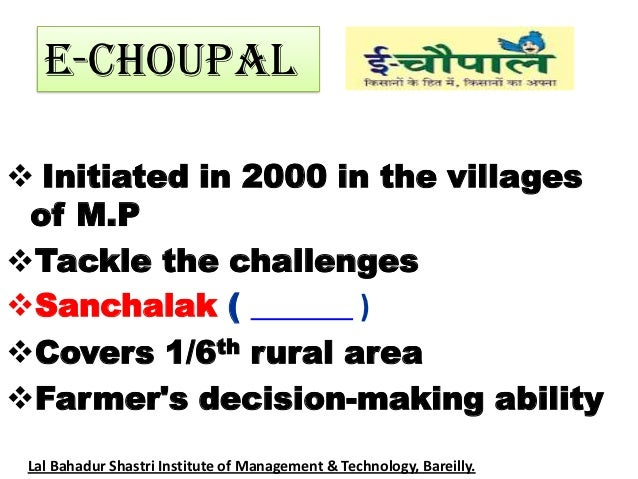 what was itc s motivation for creating the echoupal E-choupal: itc's rural networking project i abstract in hindi the e-choupal system was introduced by itc in june 2000 project shakthi the objective of project shakti is to create income-generating capabilities for underprivileged rural women.