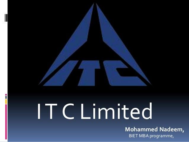 IT C Limited Mohammed Nadeem, BIET MBA programme,