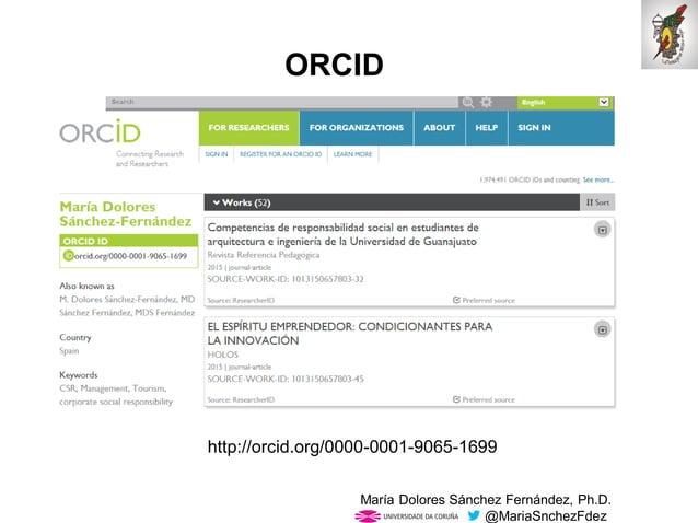 Mar�a Dolores S�nchez Fern�ndez, Ph.D. @MariaSnchezFdez ORCID http://orcid.org/0000-0001-9065-1699