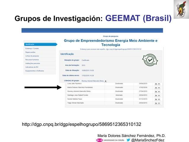 Mar�a Dolores S�nchez Fern�ndez, Ph.D. @MariaSnchezFdez Grupos de Investigaci�n: GEEMAT (Brasil) http://dgp.cnpq.br/dgp/es...