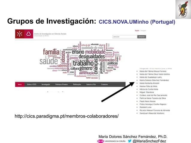 Mar�a Dolores S�nchez Fern�ndez, Ph.D. @MariaSnchezFdez Grupos de Investigaci�n: CICS.NOVA.UMinho (Portugal) http://cics.p...