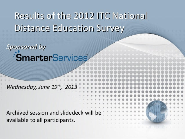 Sponsored bySponsored byArchived session and slidedeck will beavailable to all participants.Results of the 2012 ITC Nation...