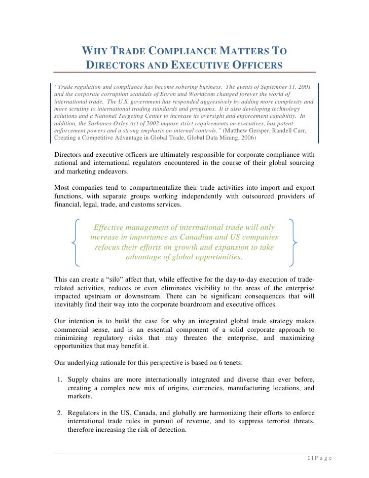Integrated trade compliance strategy - Compliance officer canada ...