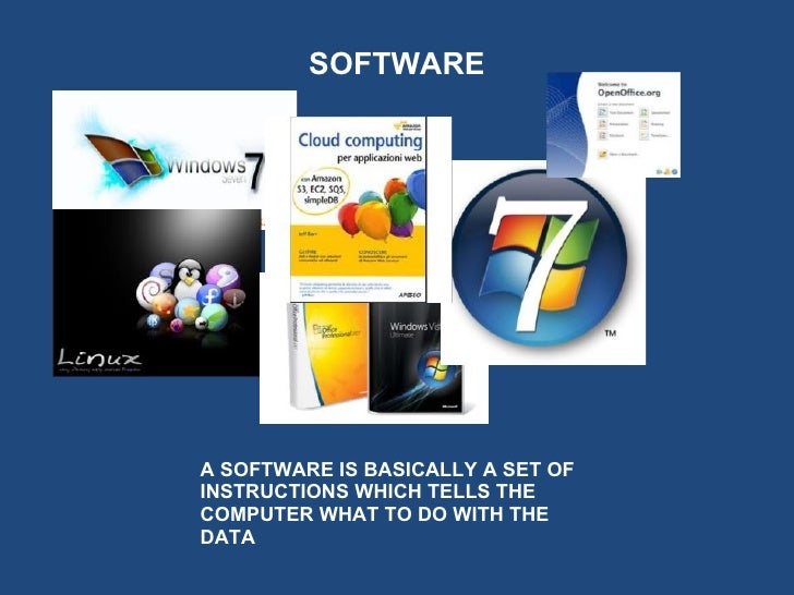 SOFTWAREA SOFTWARE IS BASICALLY A SET OFINSTRUCTIONS WHICH TELLS THECOMPUTER WHAT TO DO WITH THEDATA