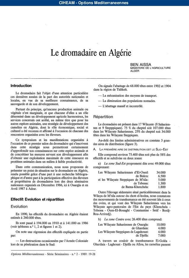 CIHEAM - Options Mediterraneennes                                  Le dromadaire en Algérie                               ...