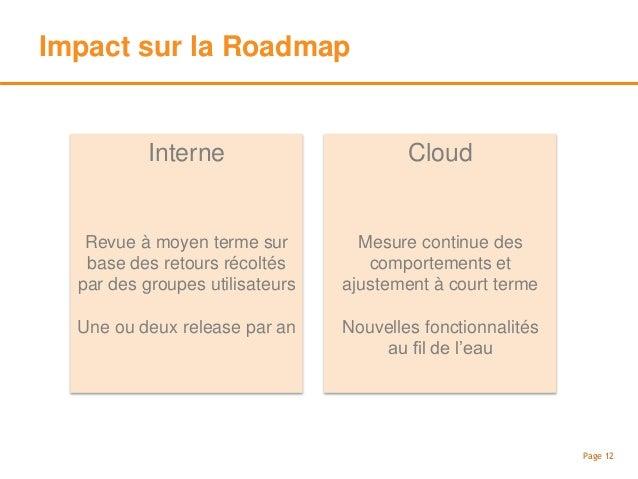 Impact sur le support et les mise à jour Page 13 Interne Coût additionnel récurrent Cloud Compris dans le prix du service