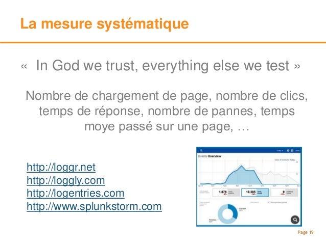 A/B Testing Page 20 Page complète Message marketing Position sur une page Comportement lors d'un clic Google Analytics Con...