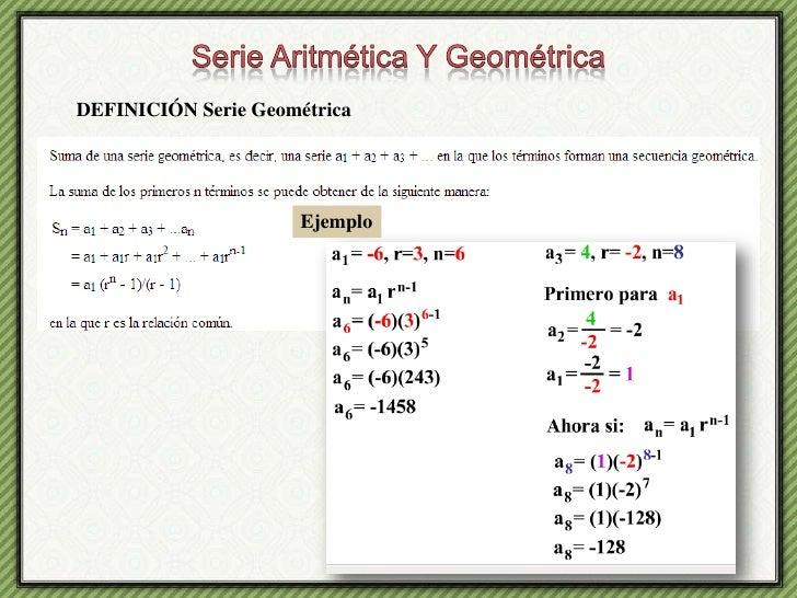 Serie Aritmética Y Geométrica<br />DEFINICIÓN Serie Geométrica<br />Ejemplo<br />