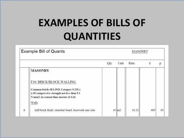 Itd presentation slides examples of bills of quantities altavistaventures Choice Image