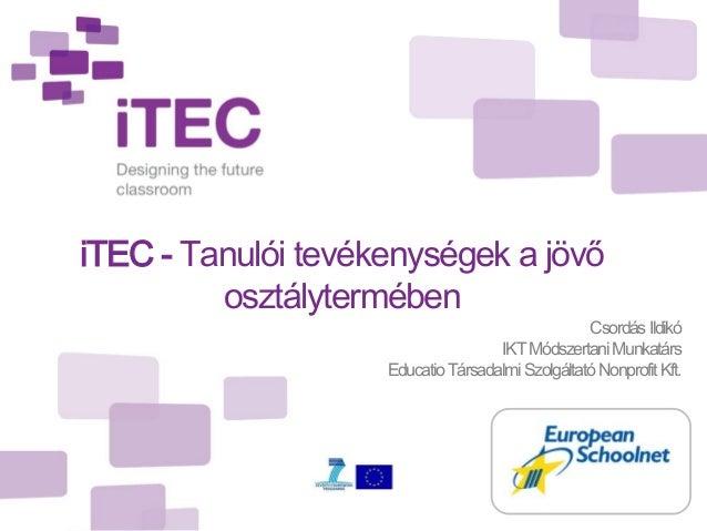 iTEC - Tanulói tevékenységek a jövő         osztálytermében                                                  Csordás Ildik...