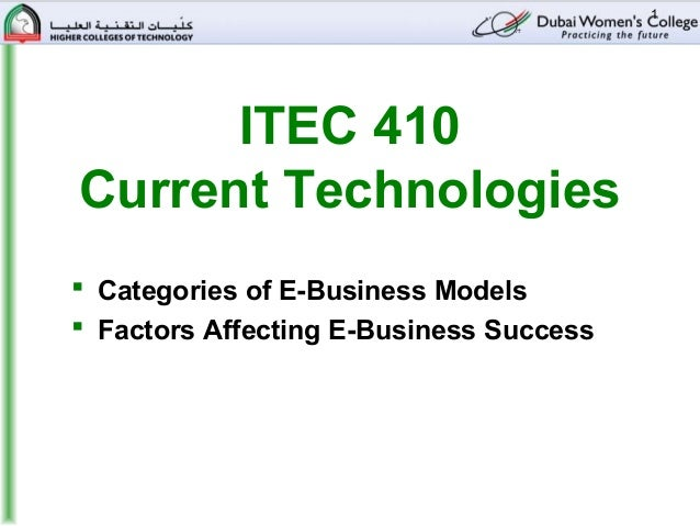 1      ITEC 410Current Technologies Categories of E-Business Models Factors Affecting E-Business Success
