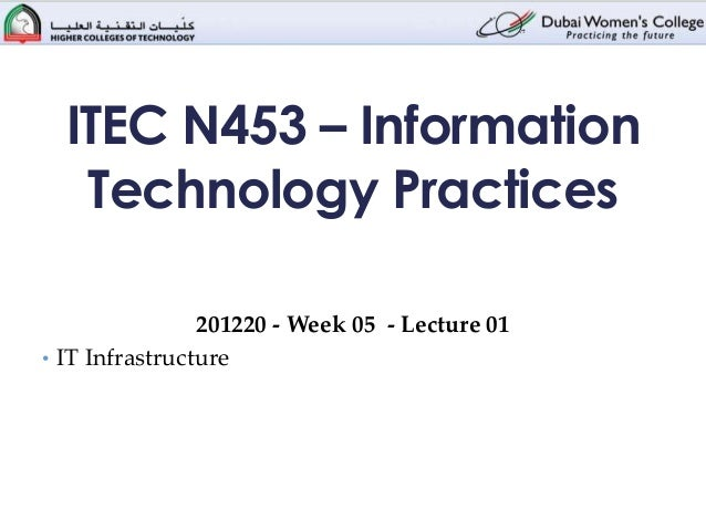 ITEC N453 – Information   Technology Practices                201220 - Week 05 - Lecture 01• IT Infrastructure