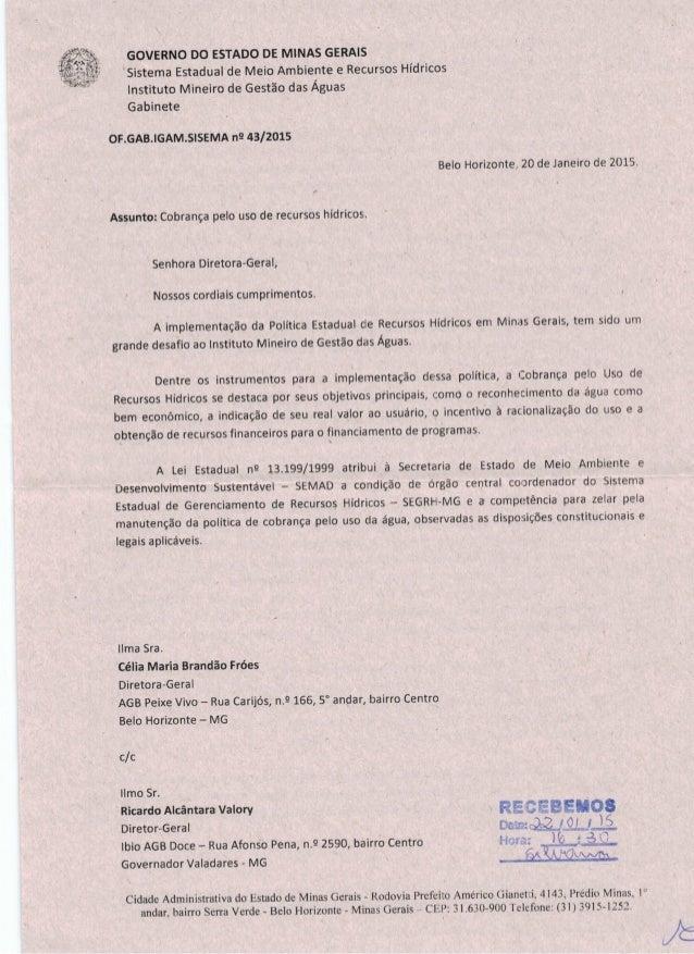 GOVERNO DO ESTADO DE MINAS GERAIS  Sistema Estadual de Meio Ambiente e Recursos Hídricos Instituto Mineiro de Gestão das Á...