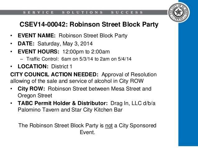 CSEV14-00042: Robinson Street Block Party • EVENT NAME: Robinson Street Block Party • DATE: Saturday, May 3, 2014 • EVENT ...