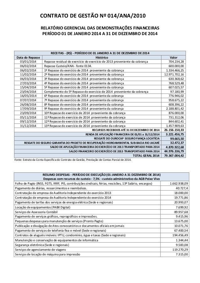 CONTRATO DE GESTÃO Nº 014/ANA/2010 RELATÓRIO GERENCIAL DAS DEMONSTRAÇÕES FINANCEIRAS PERÍODO 01 DE JANEIRO 2014 A 31 DE DE...