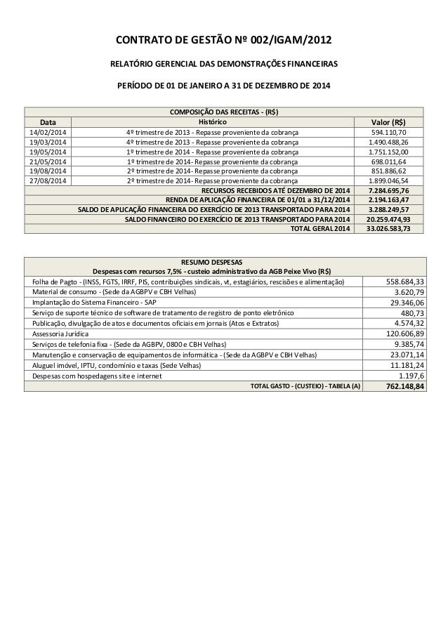 CONTRATO DE GESTÃO Nº 002/IGAM/2012 RELATÓRIO GERENCIAL DAS DEMONSTRAÇÕES FINANCEIRAS PERÍODO DE 01 DE JANEIRO A 31 DE DEZ...