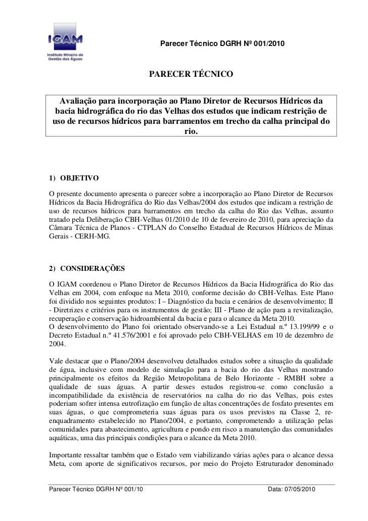 Parecer Técnico DGRH Nº 001/2010                                      PARECER TÉCNICO      Avaliação para incorporação ao ...