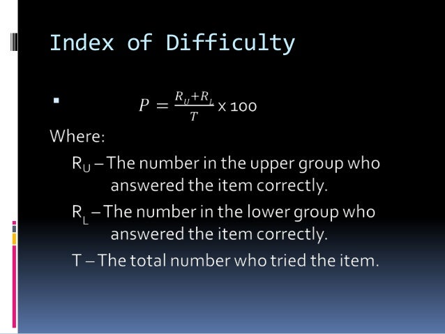Index of Difficulty 