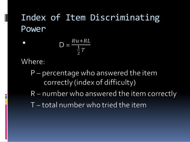 Index of Item Discriminating Power 