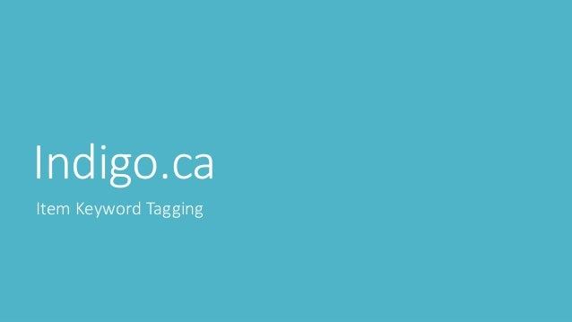 Indigo.ca Item Keyword Tagging