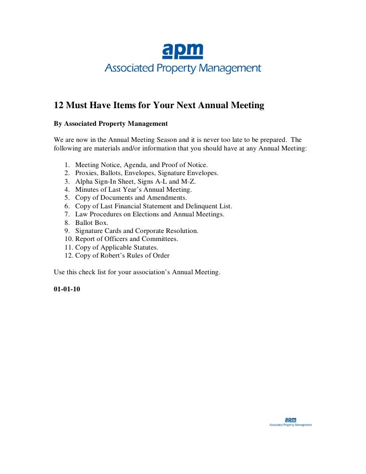 12 Must Have Items for Your Next Annual Meeting By Associated Property Management  We are now in the Annual Meeting Season...