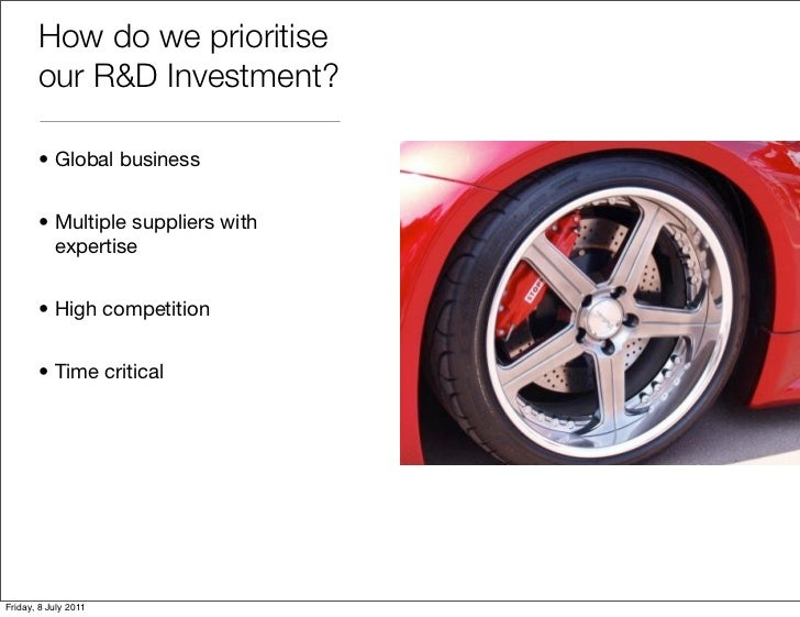 How do we prioritise       our R&D Investment?       • Global business       • Multiple suppliers with         expertise  ...