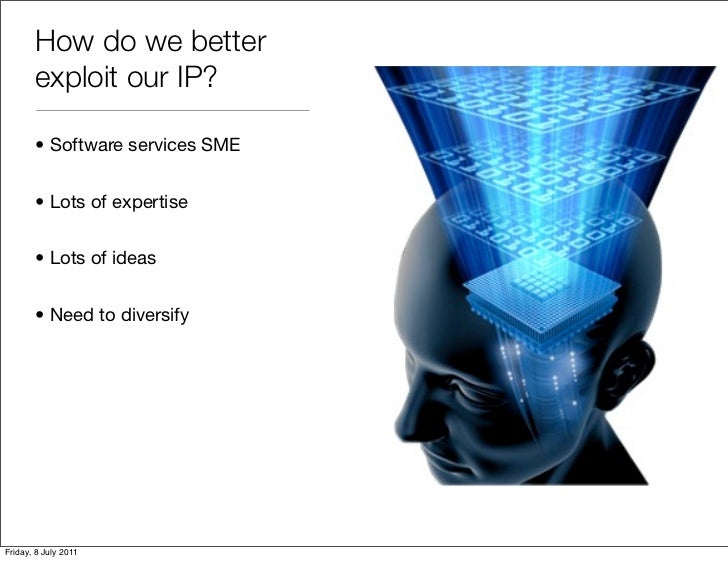 How do we better       exploit our IP?       • Software services SME       • Lots of expertise       • Lots of ideas      ...
