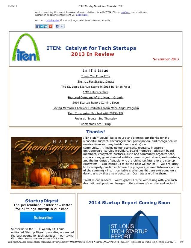 11/26/13  ITEN Monthly Newsletter- November 2013 You'rereceivingthisemailbecauseofyourrelationshipwithITEN.Pleas...