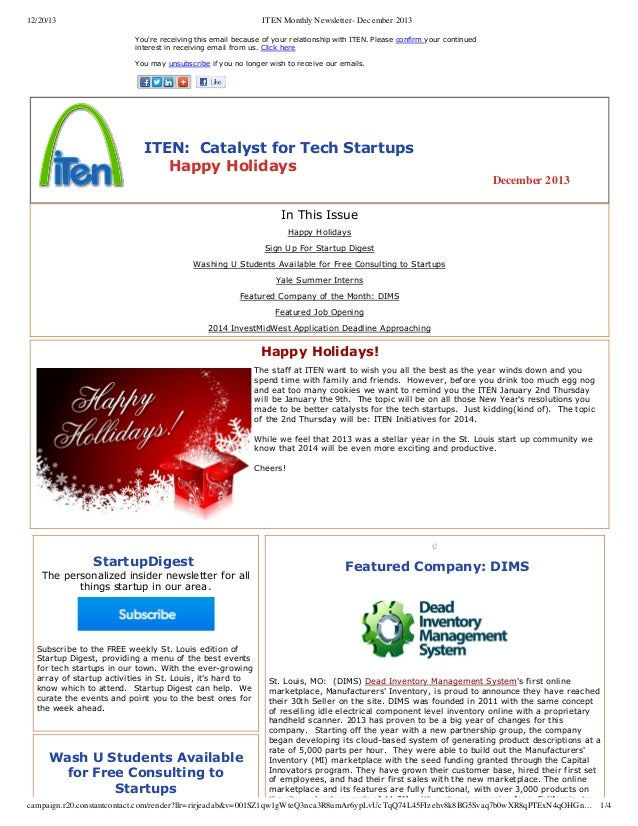 12/20/13  ITEN Monthly Newsletter- December 2013 You're receiving this email because of your relationship with ITEN. Pleas...
