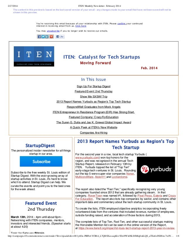 2/27/2014  ITEN Monthly Newsletter- February 2014  Thecontentinthispreviewisbasedonthelastsavedversionofyour...