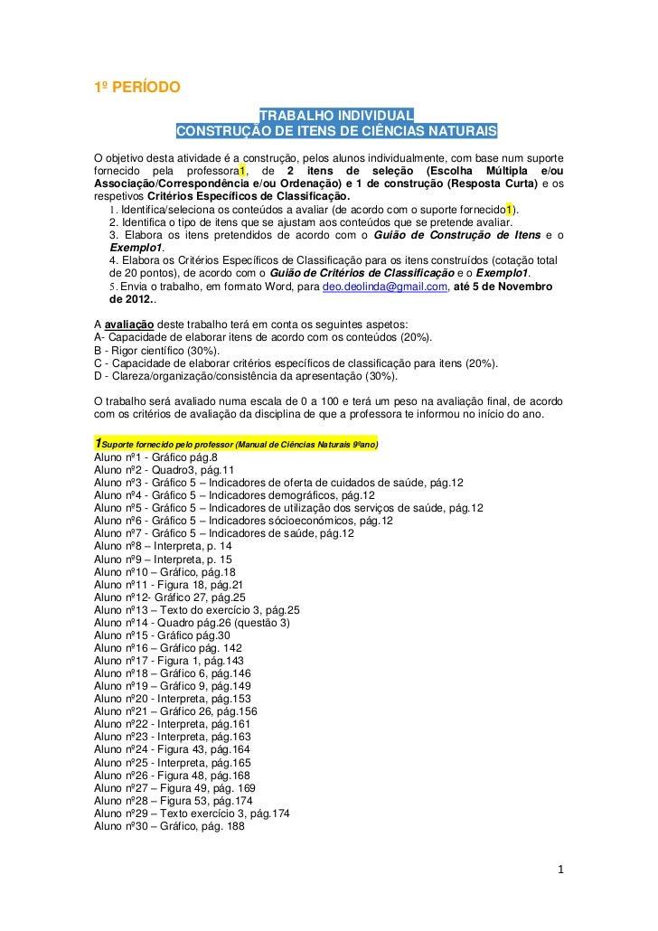 1º PERÍODO                            TRABALHO INDIVIDUAL                   CONSTRUÇÃO DE ITENS DE CIÊNCIAS NATURAISO obje...