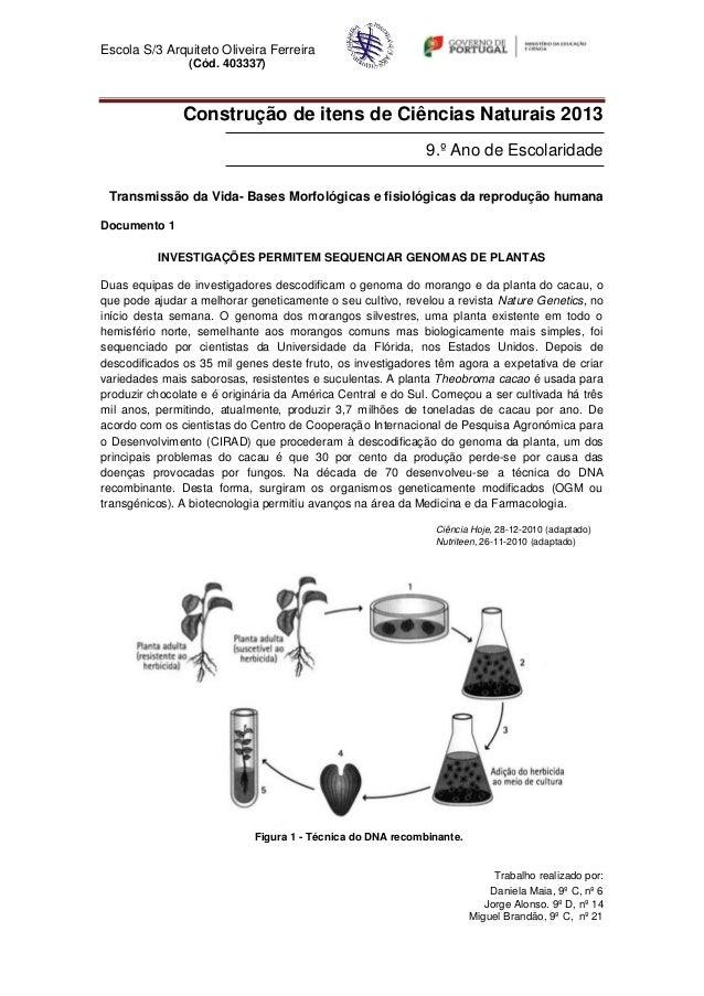 Escola S/3 Arquiteto Oliveira Ferreira                (Cód. 403337)               Construção de itens de Ciências Naturais...