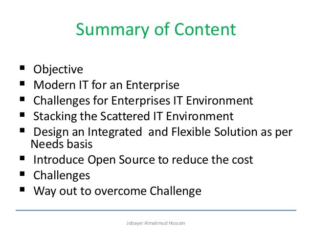 IT Environment in Enterprise and challenges  Slide 2