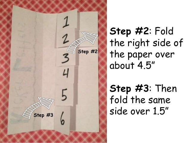"""Step #2: Fold  the right side of  the paper over  about 4.5""""  Step #3: Then  fold the same  side over 1.5""""  Step #2  Step ..."""