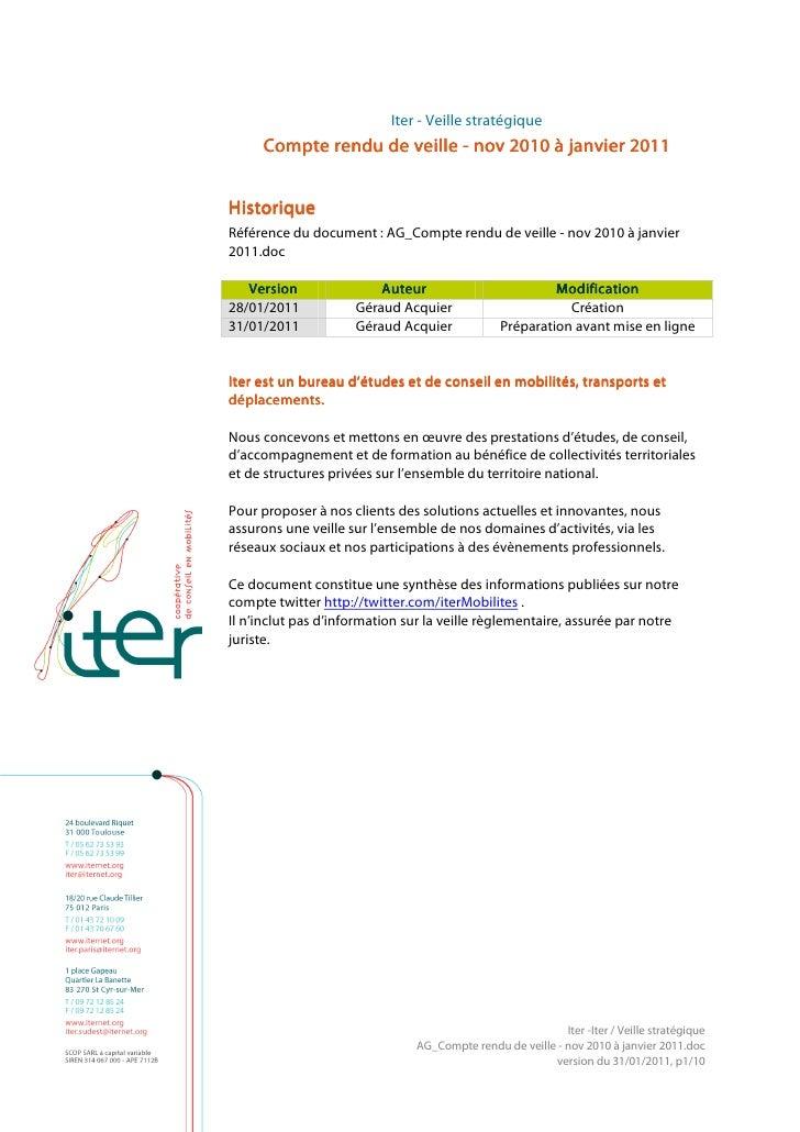 Iter - Veille stratégique     Compte rendu de veille - nov 2010 à janvier 2011HistoriqueRéférence du document : AG_Compte ...
