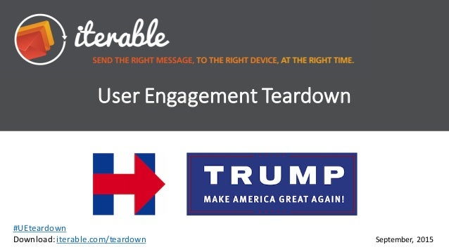 User	   Engagement	   Teardown September,	    2015 #UEteardown Download:	   iterable.com/teardown