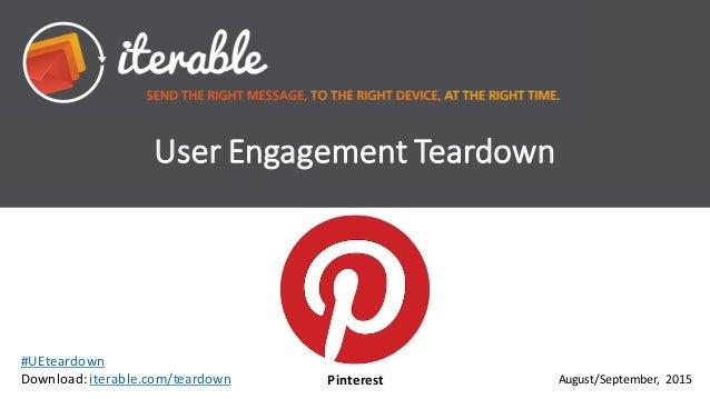 User  Engagement  Teardown August/September,   2015 #UEteardown Download:  iterable.com/teardown Pinterest
