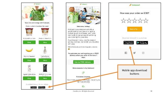Iterable, Inc. All Rights Reserved 42 Mobile app download buttons