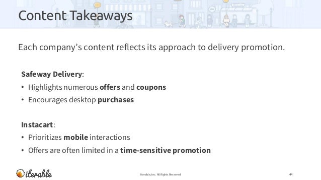 Content Takeaways Each company's content reflects its approach to delivery promotion. Safeway Delivery: • Highlights numer...
