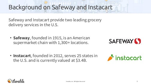 Background on Safeway and Instacart Safeway and Instacart provide two leading grocery delivery services in the U.S. • Safe...