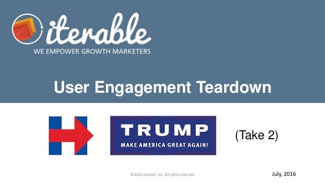 User Engagement Teardown ©2016 Iterable, Inc. All rights reserved (Take 2) July, 2016