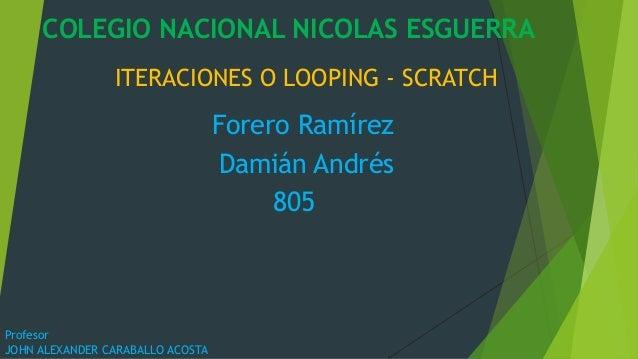 ITERACIONES O LOOPING - SCRATCH Forero Ramírez Damián Andrés 805 COLEGIO NACIONAL NICOLAS ESGUERRA Profesor JOHN ALEXANDER...