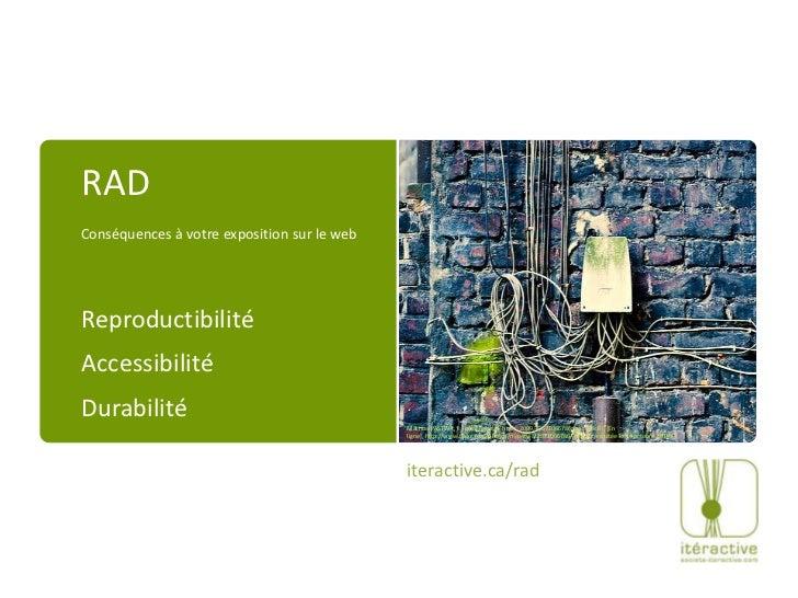RADConséquencesàvotre exposition sur le webReproductibilitéAccessibilitéDurabilité<br />Mathias PASTWA, « social network h...