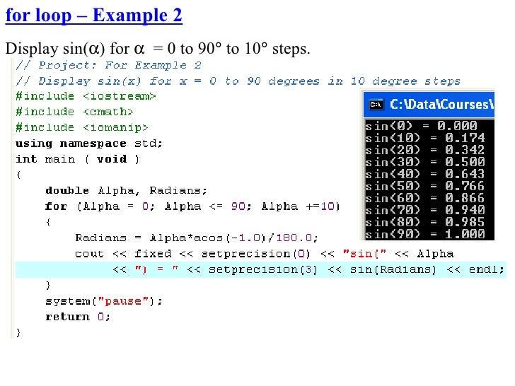 for loop – Example 2 Display sin(α) for α = 0 to 90° to 10° steps.