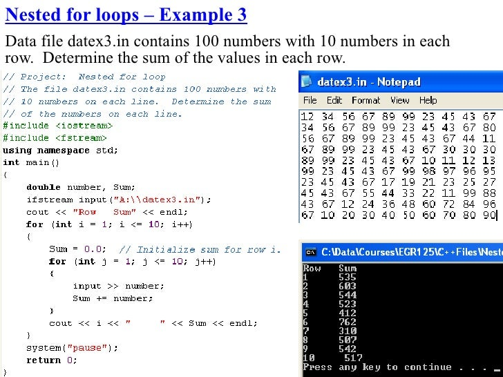 Nested for loops – Example 3 Data file datex3.in contains 100 numbers with 10 numbers in each row. Determine the sum of th...